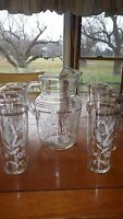 Vintage Hazel Atlas Pitcher and Glass Set White Wheat and Gold Design 8 Glasses