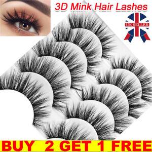 5Pair 3D Mink False Eyelashes Wispy Cross Long Thick Soft Fake Eye Lashes  UK