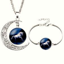Magic Unicorn Necklace Bracelet Set Silver Girls Metaphysical Jewelry Healing