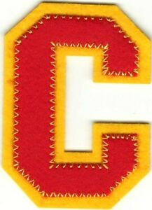 """2 1/2"""" Tall Red Yellow Block Letterman's Letter C Felt Patch"""