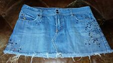 Abercrombie and Fitch Women's Denim Skirt with Sequins Fully Lined Size 8
