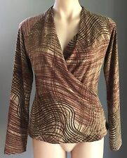 Gorgeous GEORGE Brown Hues Print Cross Over Stretch Long Sleeve Top Size 14
