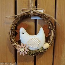 Easter Nesting Chicken with Egg & Flower Twig Spring Wreath Hanging Decoration