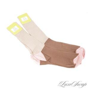 NWT LOT X2 De Pio Made in Italy Brown Coral Wheat Colorblock Rib Calf Socks #13