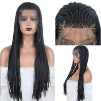 Box Braids Black Synthetic Wigs for Black Women New Hand Braided Lace Front Wig