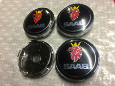 4x Saab Alloy Wheel Hub Centre Cap Set Center Caps Black  60mm