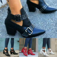 Women Mid Block Heel Ankle Boots Ladies Pointed Toe Chunky Buckle Shoes