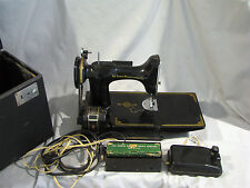 Vintage SINGER FEATHERWEIGHT SEWING MACHINE - CASE + ATTACHMENTS - NEEDS SERVICE