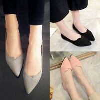 Women Lady Pointed Toe Ballet Flats Slip on Suede Shoes Stiletto Loafer  Fashion
