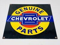 """VINTAGE CHEVROLET GENUINE PARTS PORCELAIN SIGN 12"""" METAL CAR GAS OIL DEALER SIGN"""