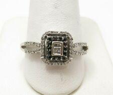 Halo Style Ring Size 9 3/4 10K White Gold ~1/4Ctw Black/White Diamond Square