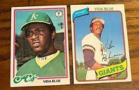 Vida Blue Topps 1978 #680 and 1980 #30 - A's - Giants