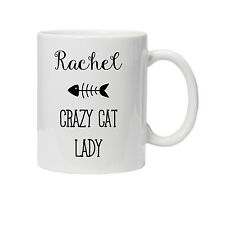 Personalised Crazy Cat Lady Mug/Cup - Ideal Birthday Gift/Present