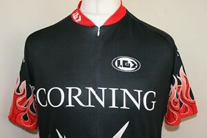 Louis Garneau Half Zip Cycling Jersey Shirt - Team Corning -XL- Flame Design Top
