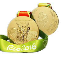 Rio 2016 Olympic Gold Medal With Ribbon Collectible Commemorative Souvenir CL