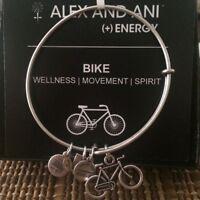 Alex and Ani Charity By Design BIKE Bracelet Rafaelian Silver NWTB & C
