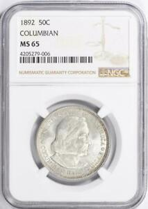 1892 Columbian Commemorative Silver Half Dollar - NGC- MS-65 - Mint State 65