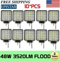 "10X4"" INCH 48W Led Work Light Foglamp Spot Cube Offroad SUV ATV Front Bumper 18W"