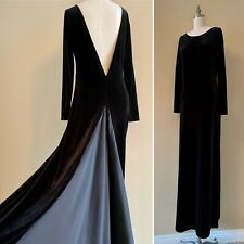 VTG 90s Black Velvet Backless Maxi Dress Rear Silk Train Goth Witchy Bodycon Lg