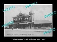 OLD POSTCARD SIZE PHOTO OF SELMA ALABAMA VIEW OF RAILROAD DEPOT c1900