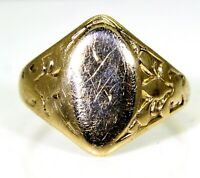 Late Art Deco 10K Yellow Gold Signet Ring size G ~ US 3 1/2