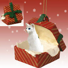 White Oriental Shorthaired Cat Inside Red Gift Box Ornament