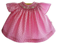 """15"""" Doll Clothes Smocked Pink Polka Dot Dress Angel Cap Sleeves fits Bitty Baby"""