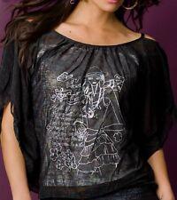 Sexy Miss 2 Teiler Träger Top Long Bluse Shirt silber print 34/36/38 schwarz NEU