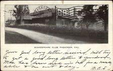 Pasadena Ca Shakespeare Club c1905 Postcard