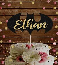 SUPERHERO BATMAN CUSTOM NAME HAPPY BIRTHDAY GLITTER CAKE TOPPER