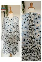 Warehouse 12 Floral Dress Wedding Occasion Garden Party Fit Flare Contrast