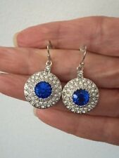 Beautiful Blue & Clear Crystal Round Dangle Design Brass Rhodium Plated Earring