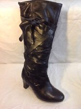 George Black Knee High Leather Boots Size 37