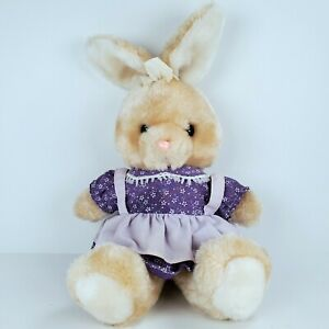 Vintage Just Friends Bunny Rabbit Girl With Purple Dress Plush Animal Easter
