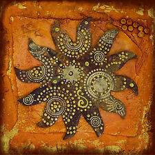 "Australia dreaming sun tribal art energy painting rustic print 39"" x 39"""