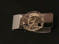 Hand Cut Kennsdy 50 Cent Coin and Mounted as a Money Clip