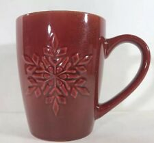 Rare Pfaltzgraff Red Sparkling  Mug Embossed Holiday Winter Snowflake Cup