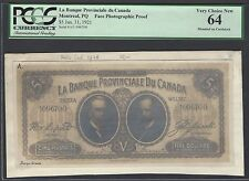 Canada- Montreal Qc  Face 5 Dollars 31-1-1921 Photographic Proof Uncirculated