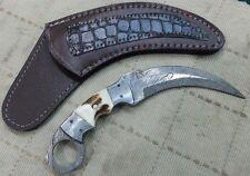 Custom made Beautiful Damascus Karambit knife with Stag handle