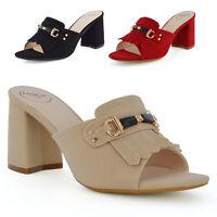 Womens Block Heel Mule Shoes Buckle Slip On Ladies Open Back Peep Toe Sandals