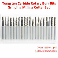 "20pcs 1/8"" Tungsten Carbide Burr Rotary Cutter Engraving Grooving bit Set"
