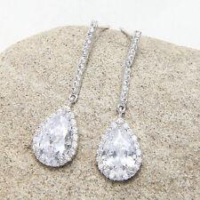 Cubic Zirconia Teardrop Diamante Bridal Drop Dangle Stud Earrings Birthday Gift