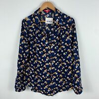 SES Fashion Womens Blouse Top 16 Blue Floral Long Sleeve Collared Button Front