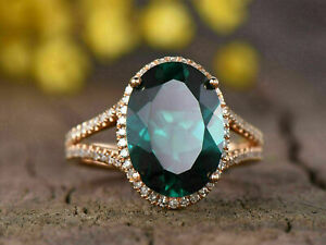 4Ct Oval Cut Green Emerald Diamond Engagement Wedding Ring 14K yellow Gold Over