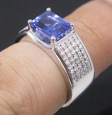 18K WHITE GOLD NATURAL BLUE TANZANITE VVS Brilliant DIAMOND Wedding MEN~S RING