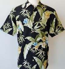 NEW TOMMY BAHAMA MEN'S PARADISE RETREAT 100% SILK BLACK HAWAIIAN CAMP SHIRT~L