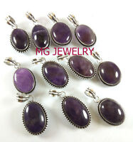 Wholesale Lot ! 15Pcs Mix Design Amethyst Pendant Lot 925 Sterling Silver Plated