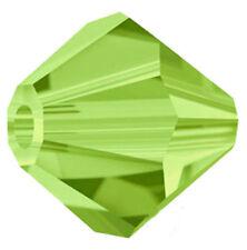 Set of 100 - 4 mm - Light Olivine Swarovski Crystal Beads 5301 Glass Bicone