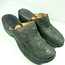 BORN Wedge Clogs Mules Slip-on Brown Riveted Leather Comfort Shoes US 10 M 42 EU