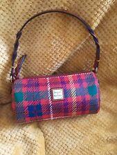 Dooney & Bourke Small Barrel Shoulder Hand Bag Satchel Red Plaid TK495 RARE